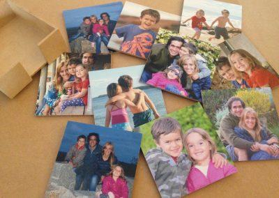 Posavasos de madera con foto familiares